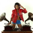 Sexy young woman djs using two retro antique gramophones — Stock Video #18018163
