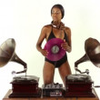 Sexy young woman djs using two retro antique gramophones — Stock Video #18018191
