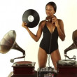 Sexy young woman djs using two retro antique gramophones — Stock Video #18033095
