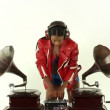 Sexy young woman djs using two retro antique gramophones — Stock Video #18033137