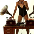 Sexy young woman djs using two retro antique gramophones — Stock Video #18033191