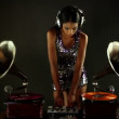 Sexy young woman djs using two retro antique gramophones - Foto Stock
