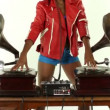 Sexy young woman djs using two retro antique gramophones — Stock Video #18034879