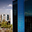 A panning time-lapse of the mexico city skyline - Stock Photo