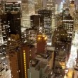 Skyscrapers and towers in manhattan skyline view at night - Stock Photo