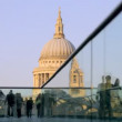 View of st paul's cathedral, from millennium bridge, london - Stock Photo