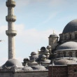 Panning shot of the yeni cami mosque in istanbul, turkey - Stock Photo