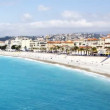 Wide angle shot of the sea and beach, nice, south of france — Stock Video