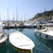 Stock Video: View of yachts in Nice harbour france