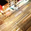 Time-lapse looking down onto a new york street of fast moving traffic at night — Stock Video