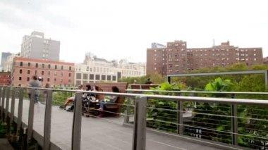 Yüksek hat park, new york city boyunca yürüyüş — Stok video