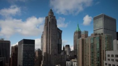 Timelapse of financial district of the manhattan skyline — Stock Video