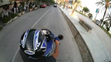 Timelapse view captured from a motorbike ride around the town of sitges — Stock Video