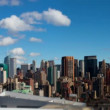 View of manhattan skyline from a high vantage point - Stock Photo