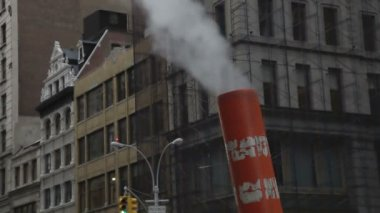 Smoke comes out of a chimney from the nyc subway — Stock Video