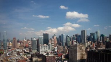 Panning timelapse of midtown manhattan skyline — Stock Video