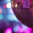 Abstract shot of in a nightclub, close-up of a glitterball — Vídeo de stock