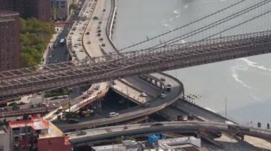 Timelapse of lower manhattan skyline and brooklyn bridge — Stock Video