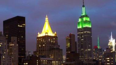 Timelapse of midtown manhattan skyline with empire state — Stock Video