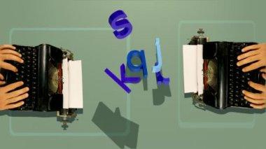 Una vecchia macchina da scrivere con lettere 3d che rientrano — Video Stock