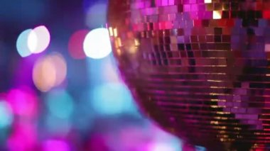 Abstract shot of in a nightclub, close-up of a glitterball — Stock Video