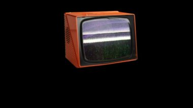 Stop motion of a fantastic retro orange television — Vídeo Stock