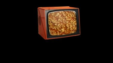 Stop motion of a fantastic retro orange television — Stock Video