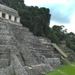 Timelapse shot of the mayan ruins at palenque - Stock Photo