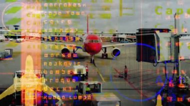 Data and information associated with aircrafts and aviation with plane — Stock Video