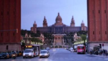 Rush of traffic early evening, at plaza de espana — Stock Video
