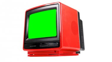 Stop motion of a fantastic retro red television — Stock Video #18549421