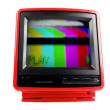 Stock Video: Stop motion of fantastic retro red television