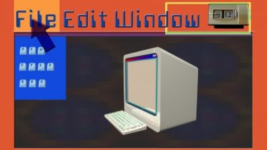 Mixed multimedia clip with 3d retro computer — Stock Video