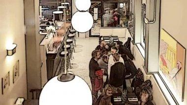 晚餐时间内忙碌的时尚餐厅 — 图库视频影像
