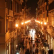 Royalty-Free Stock Vector Image: Shopping street in rome, italy, at night