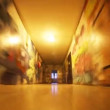 Rushing down a hallway with graffiti — Stock Video