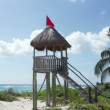 A perfect paradise beach with a wooden lifeguards tower — Stock Video