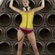 Sexy gogo dancer inside a hifi speaker, dancing and grooving - Stock Photo