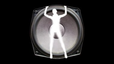Sexy gogo dancer inside a hifi speaker, dancing and grooving — Stock Video