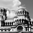 Timelapse shot of Alexander Nevsky church in central sofia - Stock Photo