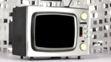 Abstract stop frame retro television moving — Stock Video