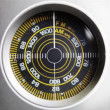 Close-up of the circular radio dial of an old retro radio - Foto de Stock