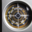 Close-up of the circular radio dial of an old retro radio — Stock Video