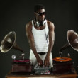 Super cool guy djs with retro gramophones - Stock Photo