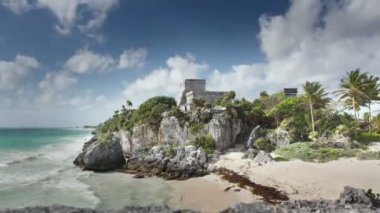 Time-lapse of the mayan ruins at tulum — Stock Video
