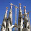 Construction work on the famous and iconic sagrada familia — Stok video