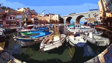 Boats and yachts moored in the picturesque Vallon des Auffes harbour — Stock Video