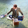 Funky dj in a suit plays in the sea — Stock Video