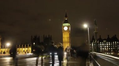 Stopmotion van en voertuigen op westminster bridge — Stockvideo