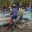 Fishermen arriving at dawn in zihuatanejo with their catch — Stock Video